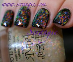 Scrangie: Finger Paints Special Effects Flake Glitter Topcoat Collection Swatches and Review