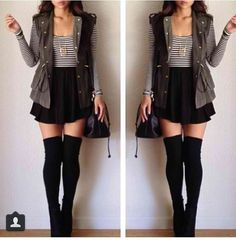 Can't wait to recreate this look with a black skater skirt, striped long sleeve crop top & military jacket