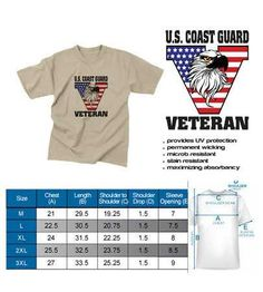U.S. Coast Guard Veteran Eagle Special Edition Sand T Shirt  Show your service pride and patriotism while looking great and feeling great. This comfortable performance T-shirt will keep you cool and comfortable as they offer moisture wicking. These shirts feel like cotton but dries 4x faster! Our sublimation technology means the image will last a lifetime & will not crack or peel.  Designed, Printed & Sublimated in the USA -Fabric Imported.