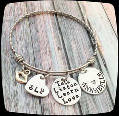 SLP Bangle Bracelet, SLP Jewelry Gift, Speech Therapy Staff, Speech Therapist, Rehab Professional Jewelry Bracelet, Language Therapy Gift