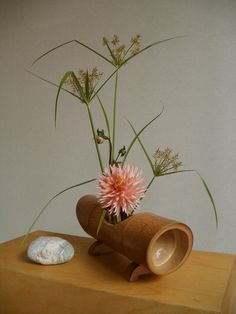 Ikebana Dahlia - Collect containers, the more you have in your stash, the more different the designs! Bamboo Planter, Bamboo Art, Bamboo Crafts, Arrangements Ikebana, Ikebana Flower Arrangement, Floral Arrangements, Flower Show, Flower Art, Bamboo Centerpieces