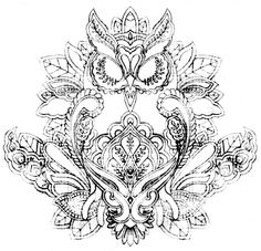 Clean this up a bit... I think this will be my first tattoo...  Owl mehndi henna design