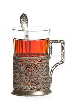 Russian tea cup with glass holder and spoon