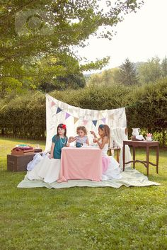 vintage little girls tea party