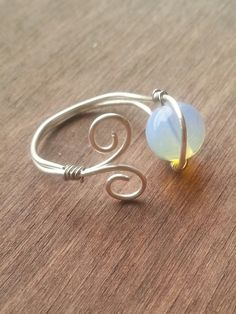 Opalite Moonstone Wire ring by TheSkeletonsKey on Etsy