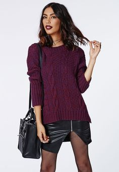 Eulalia Cable Knit Jumper Purple - Knitwear - Missguided