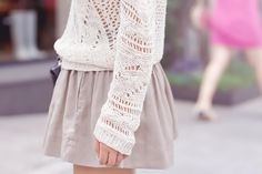 Light sweater with skirt.