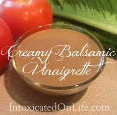 This Creamy Balsamic Vinaigrette is a healthy, low-carb dressing. Throw all ingredients in your blender and voila! Creamy Balsamic Vinaigrette, Balsamic Vinegarette, Honey Balsamic Dressing, Balsamic Glaze, Salad Dressing Recipes, Salad Recipes, Salad Dressings, Vinaigrette Dressing, Jars