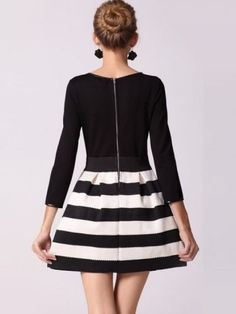 Elegant Splice Striped Style O-Neck Bubble Dress Black - Dresses