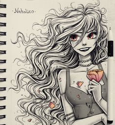 Flower by natalico Amazing Drawings, Cute Drawings, Drawing Sketches, Amazing Art, Awesome, Anime Kunst, Anime Art, Anime Sketch, Art Sketchbook
