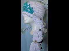 """#Crochet - Inspired by """"Disney's Frozen"""" winter princess hat ( video one)- Free pattern"""
