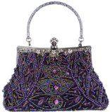 Exquisite Purple Seed Bead Sequins Clutch Purse Evening Handbag w/ Hidden Handle