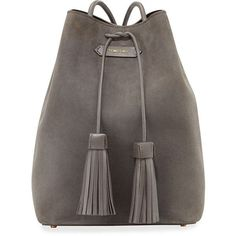 TOM FORD Suede Double-Tassel Medium Bucket Bag ($2,215) ❤ liked on Polyvore featuring bags, handbags, dark gray, roll up bag, suede bucket bag, tassel purse, suede handbags und drawstring handbags