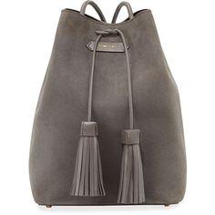 TOM FORD Suede Double-Tassel Medium Bucket Bag (€2.040) ❤ liked on Polyvore featuring bags, handbags, dark gray, suede bag, suede purse, tom ford handbags, tassel bag and bucket bag