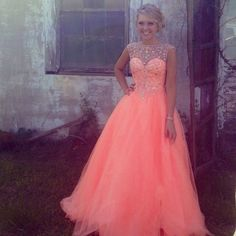Coral Pink Prom Gown Strapless Pink Dresses Bee Darlin-PromGirl ...