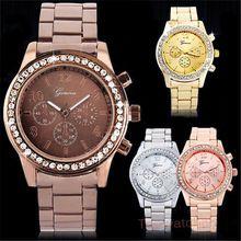 2015 relógio de genebra relógios mulheres analógico de pulso de quartzo Stianless aço relógio Feminino(China (Mainland))