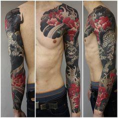 Black Demon japanese sleeve tattoo