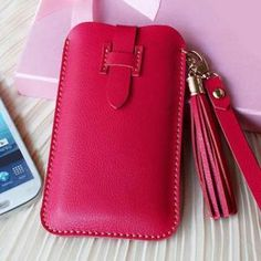 Handmade Genuine Leather Phone Case In Red / Wallet / Hand Bag / Women Wallet / Leather Iphone Case on Luulla Leather Diy Crafts, Leather Gifts, Leather Bags Handmade, Leather Projects, Red Leather, Leather Purses, Leather Handbags, Leather Wallet, Pochette Portable
