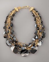 Jose & Maria Barrera Marbleized Agate & Faceted Bead Necklace