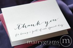 Wedding Thank You Note Card Set -Misc. Thank You for Being a Part of Our Special Day Vendor, Florist, Caterer, Musician (Set of 5) by marrygrams on Etsy https://www.etsy.com/listing/169820355/wedding-thank-you-note-card-set-misc