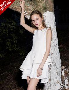 White Sleeveless Dress with Ruffles www.ustrendy.com #Ustrendy