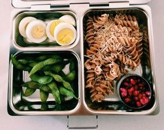 """""""Kiddo lunch/hardboiled egg, whole wheat pasta with fresh parm, edamame with sea salt, and pomegranate #kidseatingwhole"""" Thank you @jennaskitchen for sharing this beautiful lunch! #PlanetBox #lunch #pomegranate #wholewheatpasta #healthyeating planetbox.com"""