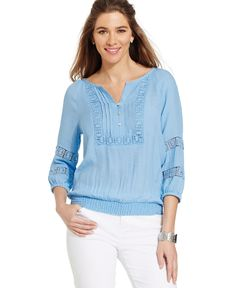 Cable & Gauge Crocheted Smocked Peasant Top