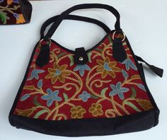 Wine & Sable Structured-U Bag with Embroidered Flowers
