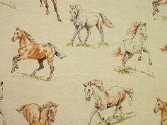 "8 Metres ""Wild Horses"" Natural Linen Look Curtain Upholstery Designer Fabric"