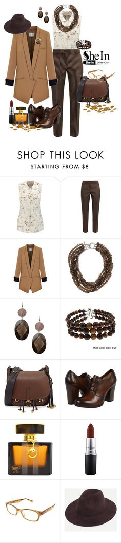 """SheIn Coffee Fedora"" by susan-993 ❤ liked on Polyvore featuring Marni, Etro, Kenneth Jay Lane, Erika Cavallini Semi-Couture, Pearlz Ocean, Prada, Frye, Gucci, MAC Cosmetics and Corinne McCormack"