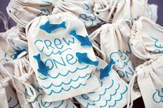 ombre surf birthday brunch  {gummy shark favors in stamped muslin bags}