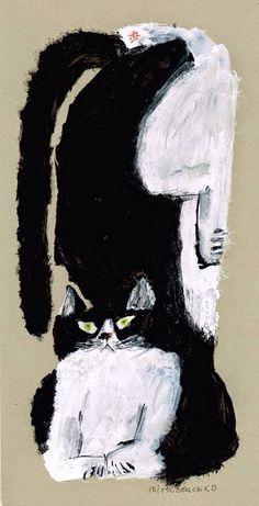 Handsome black and white cat.    .  Artist Miroco Machico
