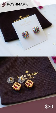 "Kate Spade mini small square stud earrings Sparkling glitter flurries are frozen in the polished epoxy jewels of versatile stud earrings that frame the face in subtle shine. * 3/8"" square. * Post back. * 14k-gold plate or silver plate/epoxy. * By kate spade new york; imported. kate spade Jewelry Earrings"