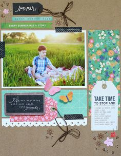 #papercraft #scrapbook #layout Summer - Patty Kumfer for Pebbles