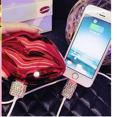 Our KISS portable charger in purple is so perfect #KISS 5 different colors Available Will keep your phone charge  charge your phone on the GO How to order:  1)Direct web link on bio.  www.glamorous4less.com  2) Products  3) Portable charger, Scroll down and Look for  it.