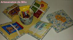 caixa de café azul e amarelo
