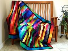 Modern Bright Quilted Lap Throw  Cottage Chic Ombre by SallyManke
