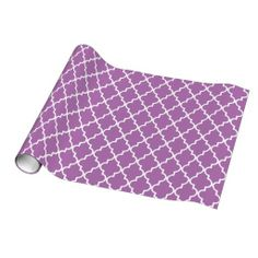 Radiant Orchid Moroccan Quatrefoil Pattern Wrapping Paper