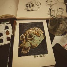 More study of #African #mask  #Conceptverse #Mooeti #watercolour #art #sketchbook #moleskine