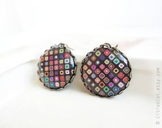 Brown earrings with colored mosaic by CitrusCat on Etsy