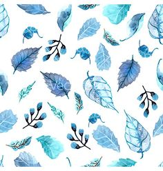 Watercolor leaves seamless floral background vector - by Elmiko on VectorStock®