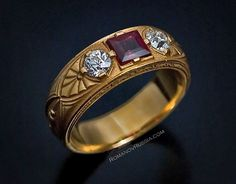 Antique Russian Gold, Spinel and Diamond Men's ring.