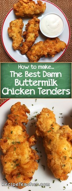 How To Make Buttermilk Chicken Tenders. Learn how to make the best damn buttermilk chicken tenders ever. Golden, delicious flour based breading crisps around buttermilk marinated chicken strips. Buttermilk Marinated Chicken, Buttermilk Chicken Tenders, Chicken Parmesan Recipes, Chicken Salad Recipes, Recipe Chicken, Chicken Strip Recipes, Oven Fried Chicken Tenders, Battered Chicken Tenders, Recipes For Chicken Tenders
