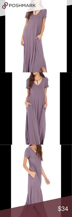 """Purple Maxi Dress Gorgeous lilac Colored Maxi dress with scrappy v Neck. A tad oversized for comfort and super comfy. Pockets on both sides. Size small is 18"""" from armpit to armpit. Comment with any questions! Dresses Maxi"""