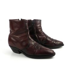 28f96241d44 Boots Ankle Vintage 1980s Acme Short Dark Burgundy Western Leather Cowboy  Boots Men s size 8 1 2