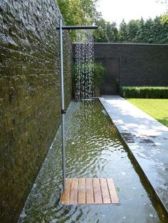 Cascase Outdoor Shower in Minimalist Style, Elegant Backyard Designs
