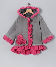 Take a look at this Gray & Pink Rosette Fleece Anne-Marie Coat - Toddler & Girls by Corky & Company on #zulily today!