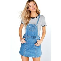 Boohoo Blue Laura Denim Pinafore Dress featuring polyvore, women's fashion, clothing, dresses, blue, day to night dresses, blue evening dresses, blue denim dress, holiday dresses and blue dress