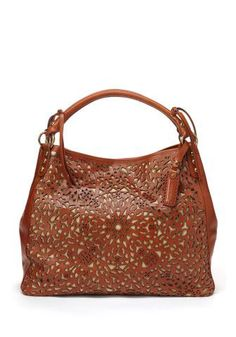 ISABELLA FIORE Brown Laser Floral Carry-All