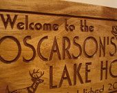 Wooden Family Lake House Welcome Signs Pine Tree Pine Cone Deer Fish Primitive wood carved Sign Wooden Carved Cabin Plaque Buck Benchmark